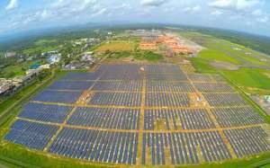 oro uostas, saules elektrine, saules baterija, saules modulis